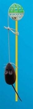 Удочка-дразнилка с велюровой мышкой Зооник - фото 8222