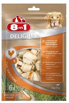 8in1 DELIGHTS S косточки с куриным мясом для мелких и средних собак 11 см 6 шт (пакет) - фото 8951