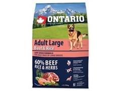 Корм ONTARIO для взрослых собак крупных пород с говядиной, индейкой и рисом