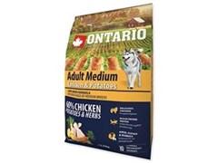 Корм ONTARIO для взрослых собак средних пород с курицей и картофелем