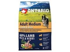 Корм ONTARIO для взрослых собак средних пород с янгенком, индейкой и рисом