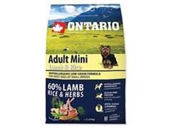 Корм ONTARIO для взрослых собак малых пород с янгенком и рисом