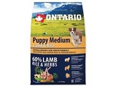 Корм ONTARIO для щенков средних пород с ягненком и рисом