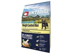 Корм ONTARIO для взрослых собак малых пород - контроль веса - с индейкой и рисом