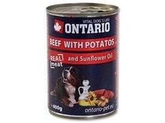 Консервы ONTARIO для собак с говядиной и картофелем