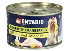 Консервы ONTARIO для собак малых пород с мясом гуся и клюквой