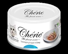 Консервы для кошек для вывода шерсти Pettric Cherie Hairball Микс желтоперого и полосатого тунца с окунем в подливе
