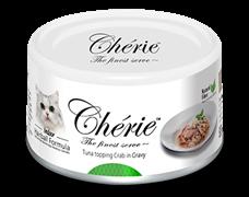 Консервы для кошек для вывода шерсти Pettric Cherie Hairball Микс желтоперого и полосатого тунца, с мясом краба в подливе
