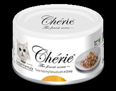 Консервы для кошек для вывода шерсти Pettric Cherie Hairball Микс желтоперого и полосатого тунца, с хлопьями копченого тунца в подливе