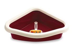 Туалет угловой Stefanplast Sprint Corner, с рамкой и совочком, бордовый, 40*56*14см (96604)