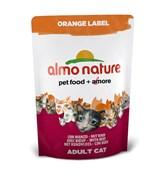 Корм ALMO NATURE New Для Кастрированных кошек с Говядиной (Orange label Cat Beef)