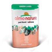 Паучи Almo Nature 75% мяса для Кошек  Свежий Лосось  (Green label Cat Salmon), 55г.
