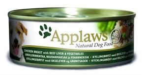 Консервы APPLAWS для собак Курицей, Говяжьей Печенью и овощами (Dog Chicken/Beef Liver/Veg)