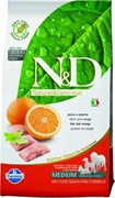 Беззерновой корм Farmina ND Рыба с апельсином для взрослых собак мелких пород