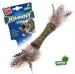 Игрушка GIGWI JOHNNY STICK для кошек прессованная мята с перьями - фото 10043