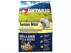 Сухой корм ONTARIO для пожилых собак малых пород с янгенком и рисом - фото 10215