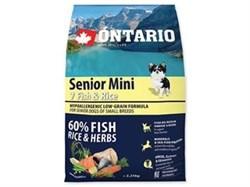 Сухой корм ONTARIO для пожилых собак малых пород с 7 видов рыб и рис - фото 10217