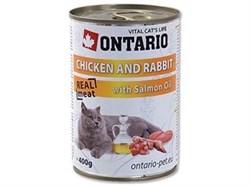 Консервы ONTARIO для взрослых кошек с курицей и кроликом - фото 10268