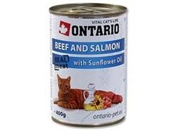 Консервы ONTARIO для взрослых кошек с говядиной и лососем - фото 10272