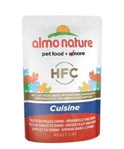 Пауч ALMO NATURE для взрослых кошек с куриным филе и cурими HFC Classic Cuisine – Chicken Fillet and Surimi - фото 10413