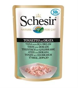 Пауч SCHESIR для взрослых кошек тунец с дорадо в желе - фото 10630