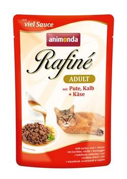 Пауч ANIMONDA Rafin Soup Adult для взрослых кошек с индейкой телятиной и сыром - фото 11278