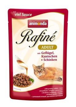 Пауч ANIMONDA Rafin Soup Adult для взрослых кошек с домашней птицей кроликом и ветчиной - фото 11279