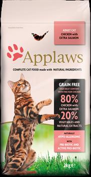 Беззерновой сухой корм APPLAWS для взрослых кошек с курицей, лососем и овощами (Dry Cat Chicken/Salmon) - фото 11515