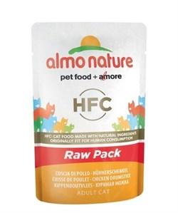 Пауч ALMO NATURE для взрослых кошек с куриной ножкой 75% мяса Classic Raw Pack – Chicken Drumstick - фото 11651