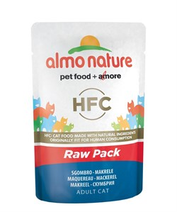 Пауч ALMO NATURE Classic Raw Pack – Mackerel для взрослых кошек cо скумбрией 75% мяса - фото 11658