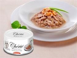 Консервы PETTRIC Cherie Hairball для кошек для вывода шерсти тунец с креветками в подливе Tuna topping shrimp in gravy - фото 12105