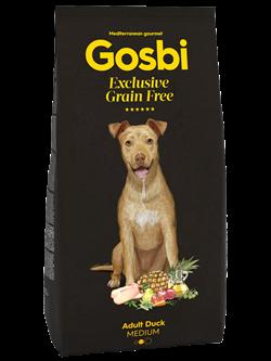 Беззерновой cухой корм GOSBI Exclusive GF для взрослых собак средних пород с уткой - фото 12116