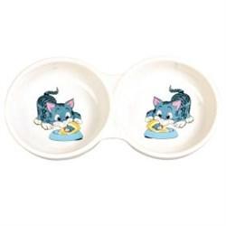 Миска керамическая двойная Trixie Кошка - фото 13812