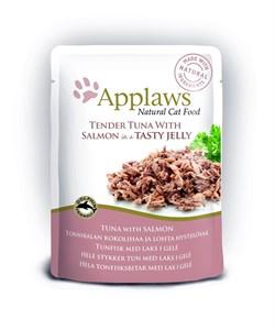 Пауч APPLAWS для взрослых кошек кусочки тунца с лососем в желе Tuna wholemeat with salmon in jelly - фото 13896