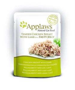 Пауч APPLAWS для кошек кусочки курицы с ягненком в желе Chicken with lamb in jelly - фото 13897