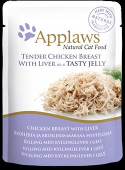 Пауч APPLAWS для взрослых кошек кусочки курицы с печенью в желе Chicken with liver in jelly - фото 13900