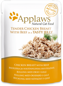 Пауч APPLAWS для взрослых кошек кусочки курицы и говядины в желе Chicken with beef in jelly - фото 13903