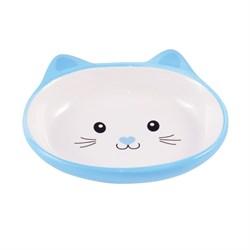 Миска керамическая для кошек КерамикАрт Мордочка кошки 160 мл голубая