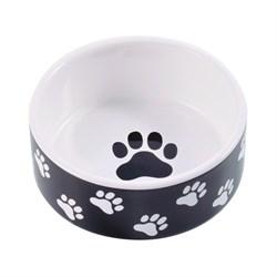 Миска керамическая для собак КерамикАрт черная с лапками - фото 14190