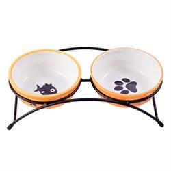 Миски на подставке для собак и кошек двойные КерамикАрт 2х290 мл оранжевые