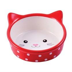 Миска керамическая для кошек КерамикАрт Мордочка кошки красная в горошек 250 мл