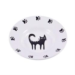 Миска-блюдце керамическая для кошек КерамикАрт 140 мл белое