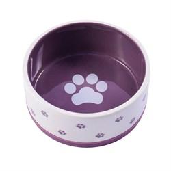 Миска керамическая нескользящая для собак КерамикАрт Белая с фиолетовым - фото 14199