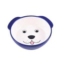 Миска керамическая для собак КерамикАрт Мордочка собаки синяя - фото 14200