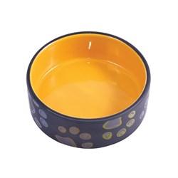 Миска керамическая для собак КерамикАрт черная с желтым - фото 14203