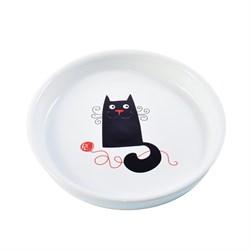 Миска керамическая для кошек КерамикАрт белая с кошкой 210 мл
