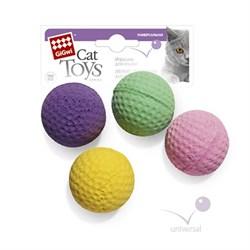 Набор бесшумных мячиков GIGWI для кошек 4 шт диаметр 4 см - фото 14276
