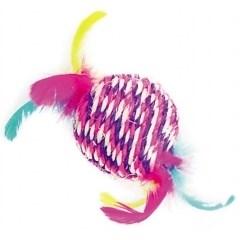 "Игрушка для кошек Dezzie Мяч ""Клоун"" с перьями - фото 14285"