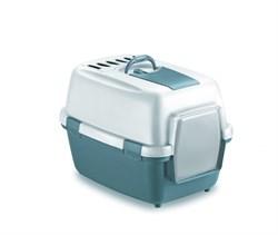 Туалет закрытый Stefanplast WivaCat Blu Acciaio/Bianco, 55*40*40 см с угольным фильтром - фото 14433