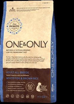 Сухой корм ONE&ONLY для взрослых собак всех пород с белой рыбой и рисом All Breeds White Fish/Rice - фото 14806